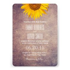 Classy Grunge Sunflower Wedding Personalized Invitations-- this is more me than any other wedding invitation ive ever seen