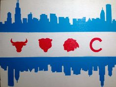 Chicago flag skyline - sports painting on canvas