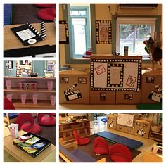 Turn dramatic play into a movie theater Dramatic Play Area, Dramatic Play Centers, Play Based Learning, Learning Centers, Stars Classroom, Lunch Boxe, Theatre Plays, Gif Disney, Classroom Decor Themes