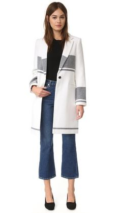 Wide and narrow stripes accent this plush felt Club Monaco coat. Notched lapels join at the buttoned placket. Perfect Boyfriend, Work Looks, Cashmere Cardigan, Winter Wardrobe, Monaco, Autumn Winter Fashion, Cute Outfits, Clothes For Women, My Style