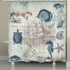 """A vintage coastal-themed curtain featuring navy and and soft, green sea creatures and shells. Laural Home's """"Seaside Postcard Shower Curtain"""" is a lovely addition to any nautical bathroom decor. Nautical Bathroom Design Ideas, Nautical Bathrooms, Small Bathroom, Nautical Design, Bathroom Theme Ideas, Nautical Theme Bathroom, Nautical Shower Curtains, Nautical Prints, Pool Bathroom"""
