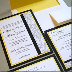 Black, Yellow, and Grey Wedding invitations