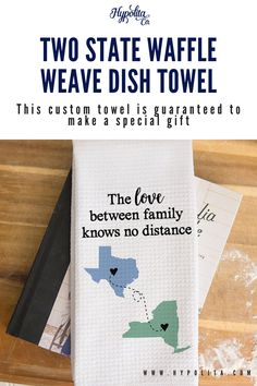 This custom towel is guaranteed to make a special gift and bring joy to whoever receives it. Bundle our towels and save! These make great gift sets and are neatly packaged in a cellophane sleeve for protection. #dishtowel #kitchentowel #teatowel #handtowel #familylongdistancegift #grandparentgift #longdistancestatetostategift #uniquegoingawaygift #movingawaygift #grandparentgift #kitchentowel #uniquegrandparentgift #uniquefamilygift