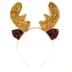 Crown and Glory Hair Accessories — Glitter Reindeer Antler Headband