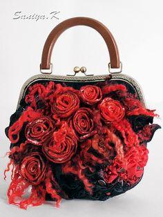 "Eco Boho handmade Bag ""Red Magic"" (felted eco-friendly boho-chic bags buy)"