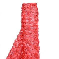 "54"" x 4 Yards Coral Rosette Satin Lace Fabric Bolt"