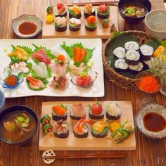 Kids Meals, Easy Meals, Sashimi Sushi, Cute Food Drawings, Food Trays, Cooking Recipes, Healthy Recipes, Japanese Food, Finger Foods