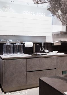 White and #greige modern styled #kitchen. #trends