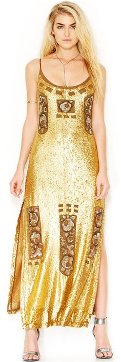 Free People Million Dollar Spaghetti-Strap Sequined Maxi Yes for the Dress,  No for the shoes.