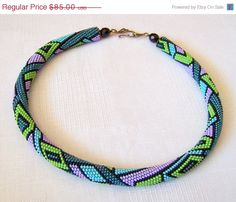 VALENTINES DAY SALE Bead crochet necklace with geometric pattern - Beaded rope necklace - Handmade jewelry - Beadwork - emerald, blue, green