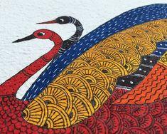 Family of birds. Watercolor Paintings, Original Paintings, Tribal Community, Madhubani Art, Indian Folk Art, Madhubani Painting, Gourd Art, Tribal Art, Traditional Art