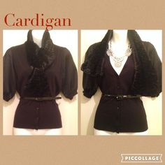 Versatile Cardigan Top in Black Preloved cardigan Top, includes the belt and scarf. V neckline. Buttons. Scarf can be removed. Sleeves are satin.  Please ask for measurements if needed, that way we can have a pleasant transaction.  •Love to Bundle & Take reasonable offers.  •Pet & Smoke Free Home.  Thanks! #lakaren77 Worthington Sweaters Cardigans