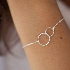 Bracelet 2 ronds en argent massif 925 : Bracelet par eliseetmoi