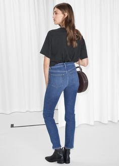 Mid rise straight slim fit five pocket jeans.Semi-stretch Mid rise Zipper fly Length of inseam: / Model wears: size 27 Style is slim fit with little stretch, please size up if you would like them more straight. Blue Crush, Kermit, Slim Jeans, Clothes For Women, Fitness, Model, Pants, How To Wear, Shopping