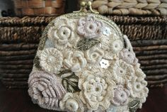 White bag with autumn colors of Irish lace by VintageVilageShop