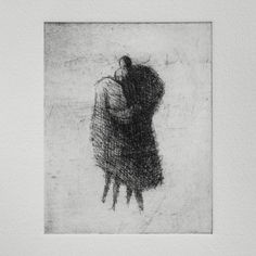 Original Etching Embrace by valdas on Etsy Drypoint Etching, Etching Prints, Office Art, Gravure, Silhouette, Artist At Work, Amazing Art, Printmaking, The Originals