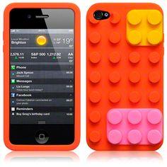 orange lego bricks design silicone phone case