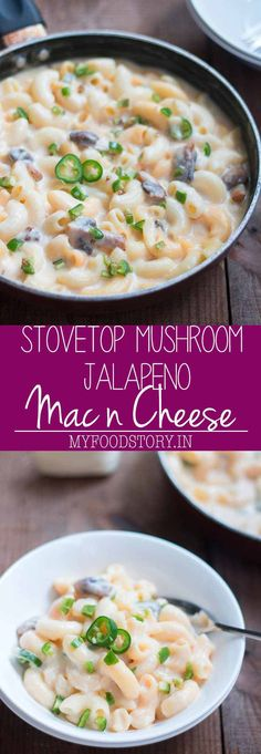 A creamy, dreamy, and super easy jalapeno mushroom mac and cheese recipe made on the stovetop for easy, no fuss weeknight dinners.
