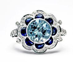14K White Gold 3.15ct Aquamarine and Cabochon Sapphire Ring