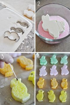 Homemade Marshmallow Peeps- perfect for your little ones Easter Basket. I think homemade marshmallows are so cool! Easter Peeps, Hoppy Easter, Easter Treats, Easter Bunny, Easter Food, Easter Gift, Cupcakes, Holiday Treats, Holiday Recipes