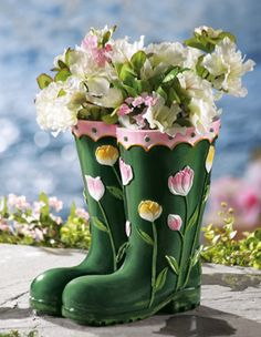 Rainboots Decorative Garden Planter from Collections Etc. mothers day