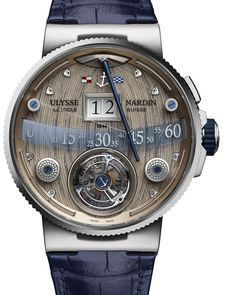 The Ulysse Nardin Grand Deck Marine Tourbillon watch – its dial miniaturizes elements of the deck of a classic racing yacht, including a wood deck, winches, lines and a mainsail boom. The watch will be made in limited editions of 18 pieces in white gold and 18 pieces in rose gold. More @ http://www.watchtime.com/wristwatch-industry-news/watches/lowering-the-boom-the-ulysse-nardin-grand-deck-marine-tourbillon/ #ulyssenardin #watchtime #luxurywatches #horology #Baselworld2016