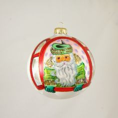 Green Santa in Window Christmas Ornament