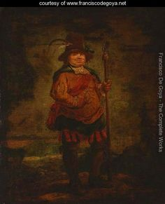 Portrait of a peasant man, standing full-length, wearing a pleated orange doublet and holding a spear - Francisco De Goya y Lucientes - Francisco Goya paintings, plastic arts, visual arts, art, romanticism