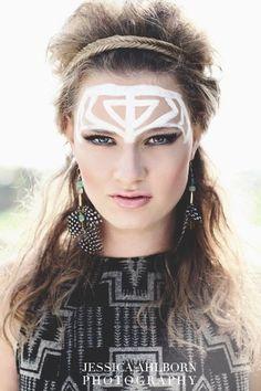 Tribal makeup. Photographer: Jessica Ahlborn. Model: Courtney Huels.
