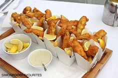 mini fish and chips in noodle boxes