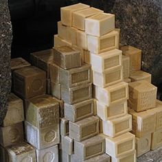 a stack of hand milled french soap..