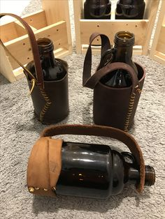 Bottle Carrier, Leather Craft, Beer Bottle, Crafts, Bags, Handbags, Leather Crafts, Manualidades, Totes