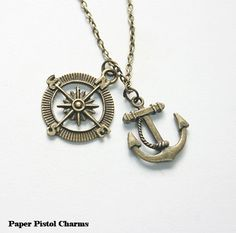 Anchor and Compass Necklace Nautical Charm by paperpistolcharms, $8.00 Etsy
