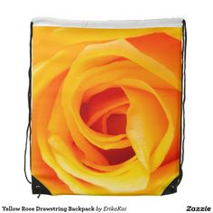 """Yellow Rose Drawstring Backpack. 100% polyester. Dimensions: 14.75"""" x 17.3""""."""