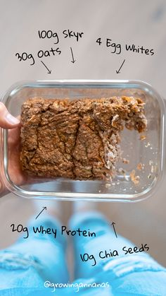 Let's bake healthy stuff, mix all Ingredients and bake for 20 - mins: . Chia Seeds Find more recipes on my IG growingannanas Baked Oatmeal Recipes, Egg Whites, Whey Protein, Healthy Baking, Chia Seeds, Beef, Meals, Breakfast, Fitness