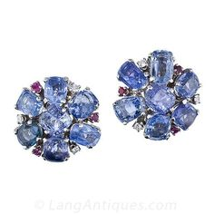 Mid-Century Sapphire Cluster Earrings - 20-1-2288 - Lang Antiques