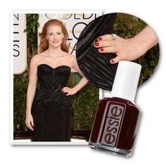 Jessica Chastain - Η έμπνευση:  «Με την επιλογή αυτού του εντυπωσιακού φορέματος, το κόκκινο στα νύχια δεν ήθελε και πολλή σκέψη» λέει η nail artist Christina Aviles και συνεχίζει: «Το βερνίκι Poor Lil' Rich Girl 12,50€ (σε επιλεγμένα ινστιτούτα) έχει την τέλεια, σκούρα κόκκινη απόχρωση που έκανε τα νύχια της να ξεχωρίζουν πλάι στο κατάμαυρο φόρεμα».