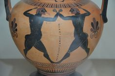 Black-figured amphora showing a boxing contest, made in Athens about 550-500 BC, signed by the potter Nikosthenes, from Agrigento (Sicily), British Museum, London