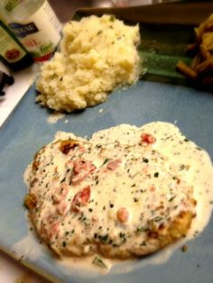 Herb Crusted Chicken in Basil Cream Sauce. The sauce is good on it's own over pasta too!