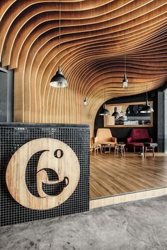 OOZN Design cover Indonesian cafe ceiling with undulating timber slats 6 Degrees Cafe in Indonesia by OOZN Design Design Café, Cafe Design, Store Design, Hotel Lounge, Commercial Design, Commercial Interiors, Restaurant Design, Restaurant Bar, Timber Slats