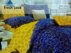 100% Cotton Bed Set  Want to give your bed room a new colorful and stylish look then this double bed sheet in yellow and blue color can be the best choice. It has a beautiful geometrical design to add more beauty to your beautiful bed room.