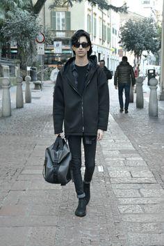 The black-haired boy: ALEXANDER WANG X H&M #menswear #fashion #black #outfit #Lanvin #blogger #mensfashion #alexanderwangxhm #alexanderwang #wang