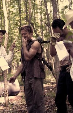 Shenanigans between scenes. Norman Reedus and Andrew Lincoln. Daryl and Rick. Walking Dead