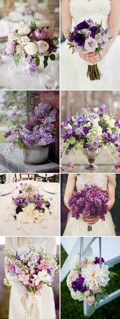 Purple Wedding Flower Inspiration Bouquets for Weddings Purple Wedding Flowers, Floral Wedding, Wedding Colors, Purple Bouquets, Plum Flowers, Purple Wedding Flower Arrangements, Rustic Purple Wedding, Lilac Bouquet, Bridesmaid Bouquets