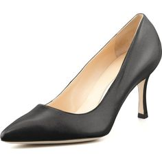 Manolo Blahnik BB Leather 70mm Pump ($595) ❤ liked on Polyvore featuring shoes, pumps, black, black slip-on shoes, manolo blahnik shoes, manolo blahnik pumps, black leather pumps and kohl shoes