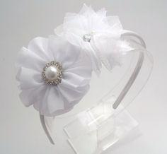 White Flower Headband  White Flower girl by JustinesBoutiqueBows