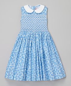 Emily Lacey Blue Floral Smocked Dress - Infant, Toddler & Girls   zulily