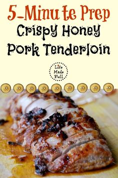 Honey Pork Tenderloin This Crispy Honey Pork Tenderloin is a quick meal, but tastes like you spent loads of time on it!This Crispy Honey Pork Tenderloin is a quick meal, but tastes like you spent loads of time on it! Pork Tenderloin Recipes, Pork Recipes, Paleo Recipes, Real Food Recipes, Cooking Recipes, Yummy Food, Turkey Tenderloin, Smoker Recipes, Pork Chops