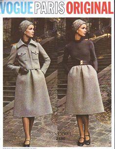 70 s élégant Nina Ricci robe, veste courte modèle VOGUE PARIS 2480 Original taille 10 Vintage Sewing Pattern Factory plié