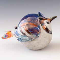 Raku Bird in Hand Sculpture - Blue Jay by AxnessArt on Etsy, $95.00